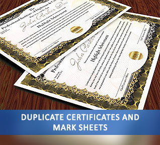 duplicate certificates and mark sheets